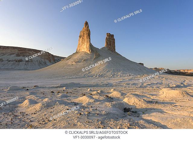 Rock formations at sunset at Caspian Depression desert, Boszhira, Aktau, Mangystau region, Kazakhstan