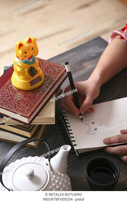 Young man drawing Maneki Neko