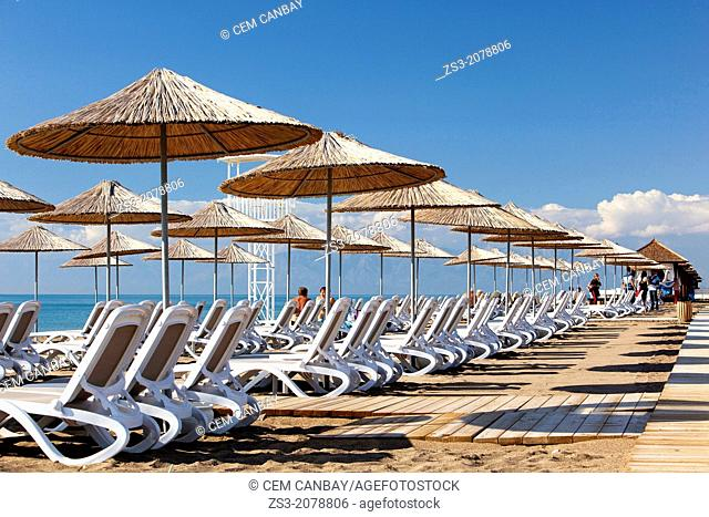 Parasols and sunbeds at the beach, Belek, Antalya, Turkey, Europe