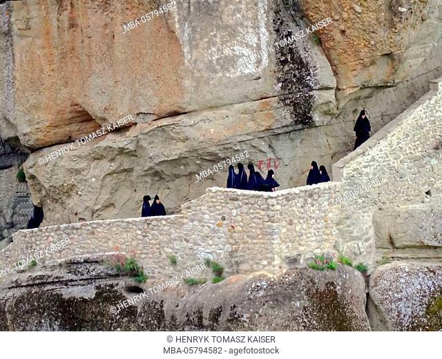 Monks at Agias Triados monastery, Meteora, Greece
