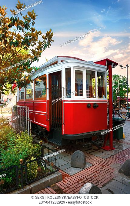 Red old tram on the street of Istanbul
