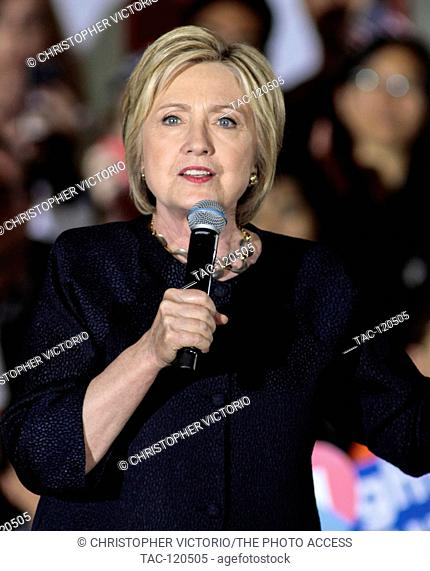 SAN FRANCISCO, CA- MAY 26: Democratic Presidential Candidate Hillary Clinton speaks at a campaign rally at The Hibernia Bank on May 26, 2016 in San Francisco