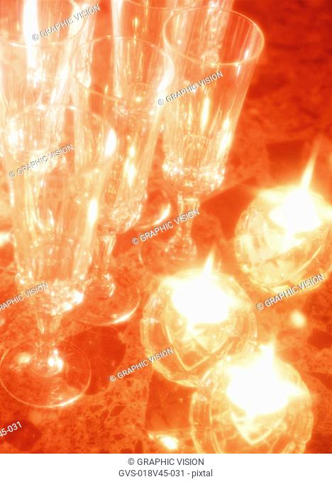 Close Up of Wineglasses and Candle Holders