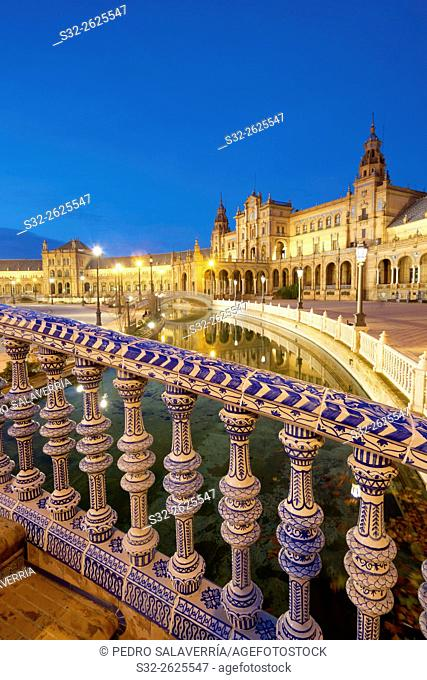 Given Spain's Square, located in Parque Maria Luisa, was the venue for the Latin American Exhibition of 1929, Seville, Andalucia, Spain