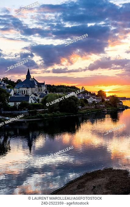 Collegiate Church of Saint-Martin (12th and 13th centuries) at Candes-Saint-Martin Village (Labeled The Most Beautiful Villages of France) at Sunset