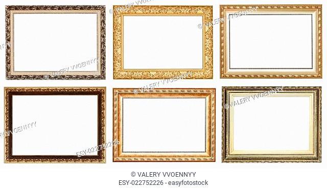 set of wide golden ancient wooden picture frames
