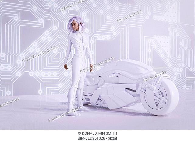 Futuristic woman near circuit board wall with white motorcycle