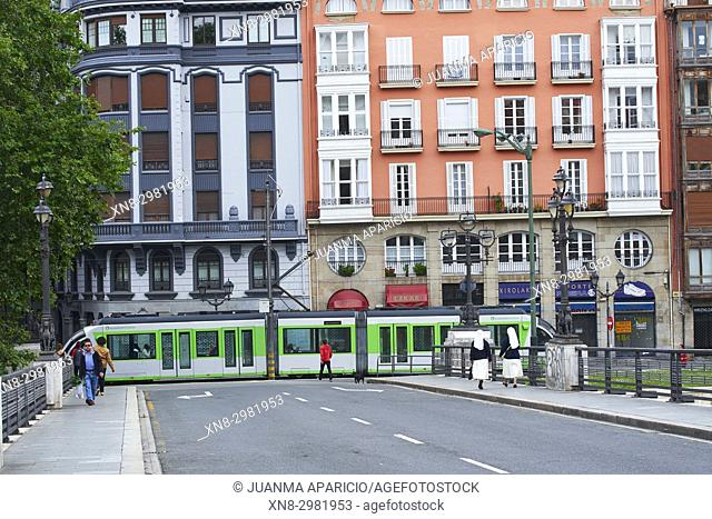 Tram, Bilbao, Biscay, Basque Country, Euskadi, Spain, Europe