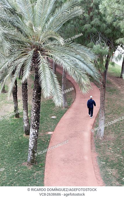 Man walking on a red path in the old Turia river bed. Valencia, Spain