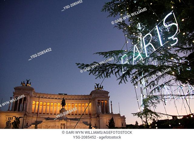 Rome, Italy 16 December 2013 Peace theme christmas tree in piazza Venezia square, Rome, Italy