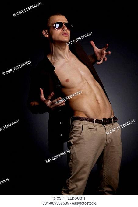 man shows beautiful body