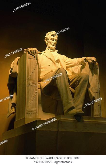 Lincoln statue inside the Lincoln Memorial in Washington Dc