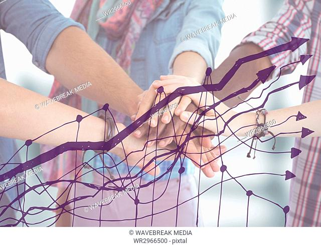 Close up of team with hands together and purple graph