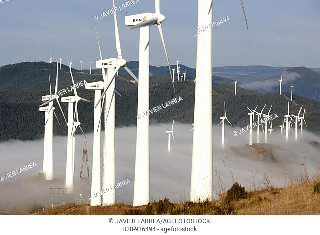 Wind power, Sierra de El Perdon windfarm near Pamplona, Navarre, Spain