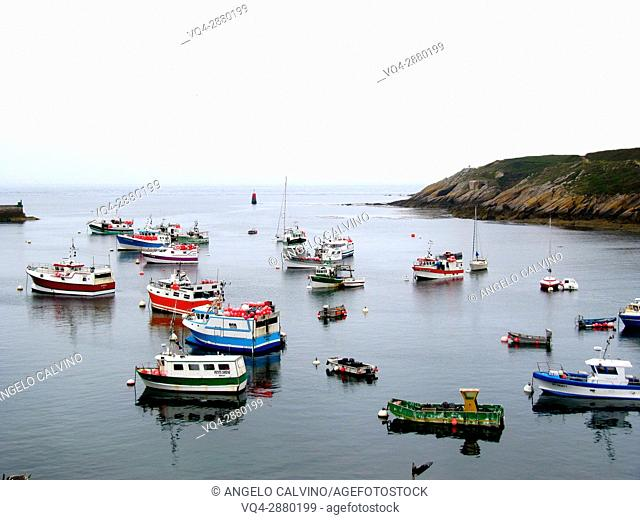 France, Finistere, Le Conquet, lobster boat in the harbor.