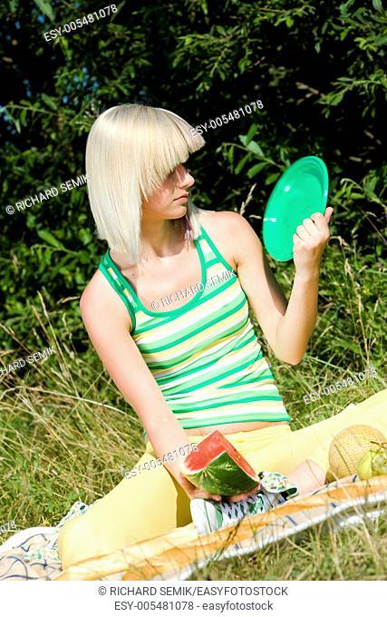 woman at a picnic