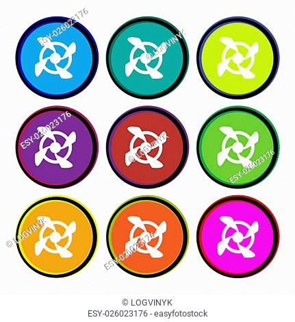 Fan Icon sign. Nine multi colored round buttons. Vector illustration