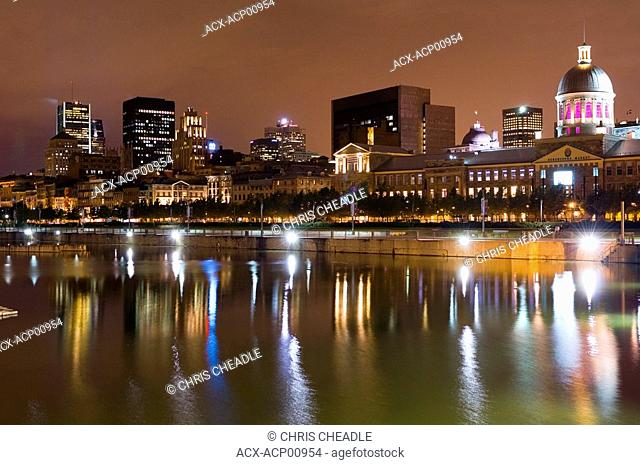 Old Montreal at night across water, Montreal, Quebec, Canada