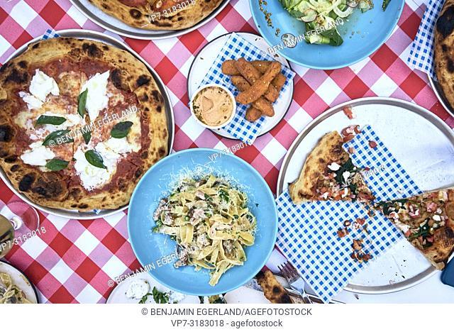 pizza and noodles at Mad Pizza e Bar Chersonissos, Crete, Greece