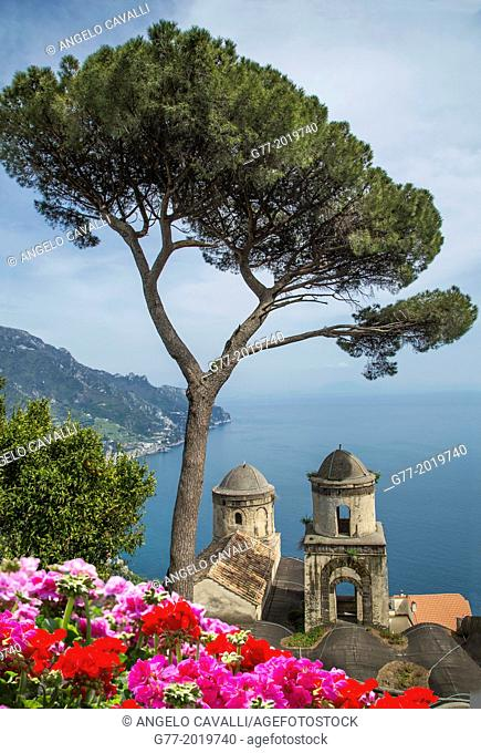 Church of Annunziata and Mediterranean sea view from the gardens of Villa Rufolo, Ravello, Amalfi Peninsula, Campania, Italy