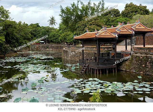 Du Khiem Pavilion and Khiem Luu Lake at the Tomb of Tu Duc. Hue, Vietnam