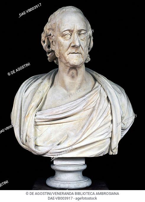 Bust of Alessandro Volta (Como, 1745-Camnago Volta, 1827), Italian physicist, sculpture by Giovanni Battista Comolli (1775-1830), 1828, plaster, 90x67x37 cm
