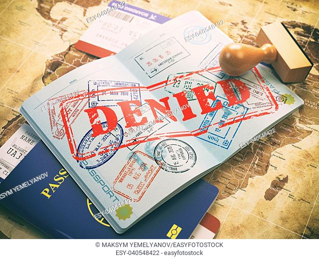 Passport with denied visa stamp on the map of the world and airline boarding pass tickets. . Travel concept. 3d illustration