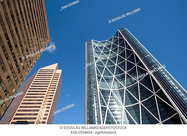 The Bow, office building in Calgary, Alberta, Canada. Design by Norman Foster, architect. Sculpture by Jaume Plensa