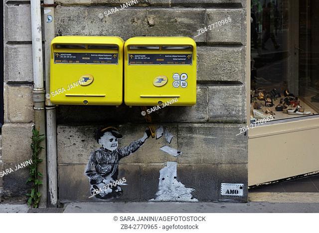 Graffiti in center town of Bordeaux, France
