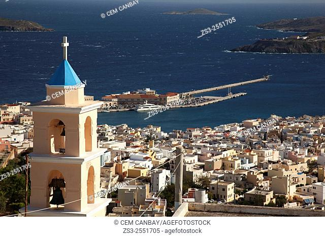 View to the Ermoupolis from the altitude with the bell tower of the Catholic church in the foreground, Ano Syros, Syros, Cyclades Islands, Greek Islands, Greece