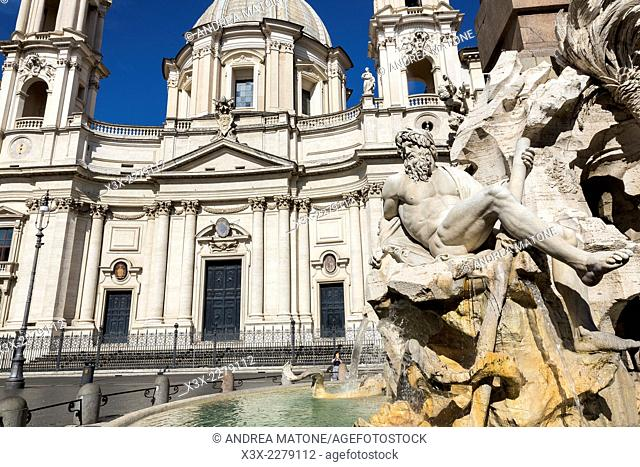 Four Rivers Fountain and Church San Agnese in Piazza Navona. Rome, Italy