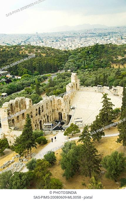 Ruins of an ancient amphitheater, Theatre of Dionysus, Acropolis, Athens, Greece