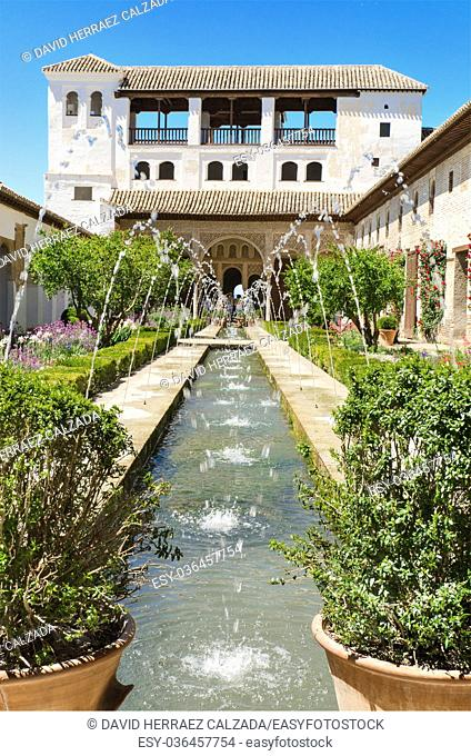 Fountain and gardens in Alhambra palace, Granada, Andalusia, Spain