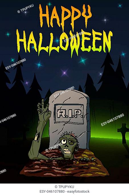 Zombie pulls hand up. Invitation to Happy Halloween party. Vector illustration