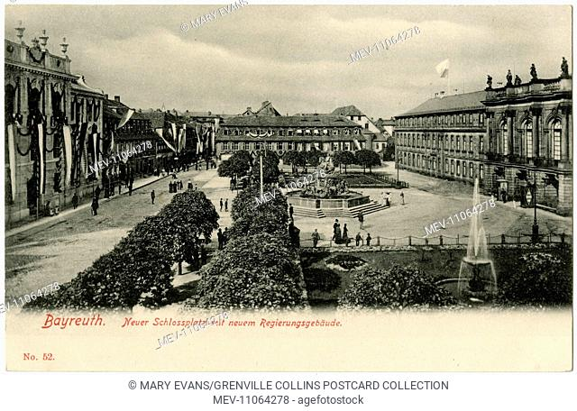 Bayreuth, Northern Bavaria, Germany - New Castle Square (the castle is on the right) and Government Buildings