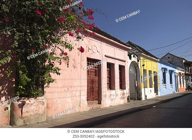 View to the colonial buildings at the historic center, Cartagena de Indias, Bolivar, Colombia, South America