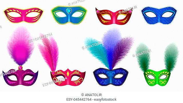 Carnival mask venetian mockup set. Realistic illustration of 8 carnival mask venetian mockups for web