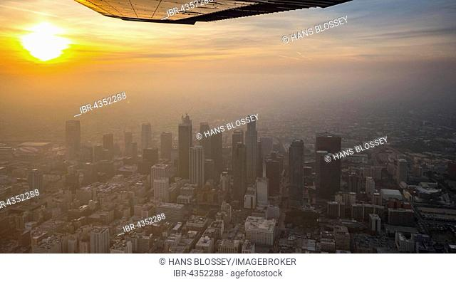 Skyscrapers of downtown Los Angeles in haze, smog, Los Angeles, Los Angeles County, California, USA