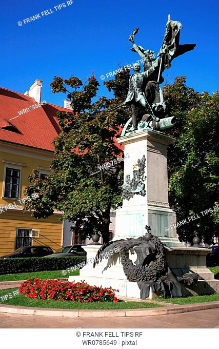 Hungary, Budapes. Statue in Castle District
