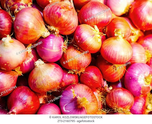 Onions in Mercat de Santa Caterina - Fresh Food Market in Barcelona, Catalonia, Spain