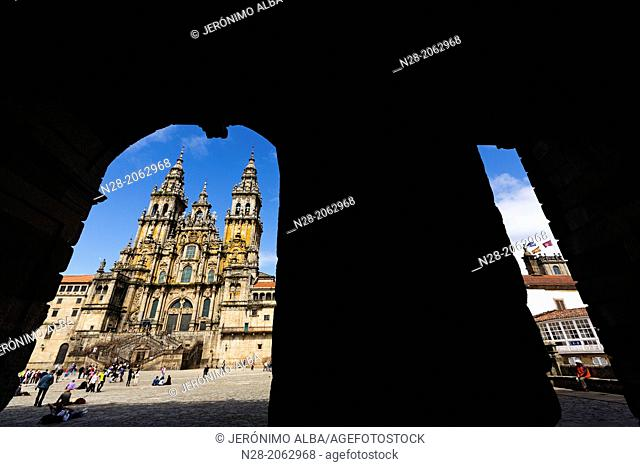 Cathedral on Plaza del Obradoiro, World Heritage Site, Santiago de Compostela, Way of St James, A Coruña province, Galicia, Spain