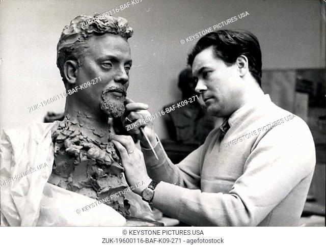 1956 - Alian Bombard To Have His Wax Figure: M. Barbieri, Te Sculptor of the Grevin Wax Figure museum, puts the finishing touches to the bust of all on Bombard