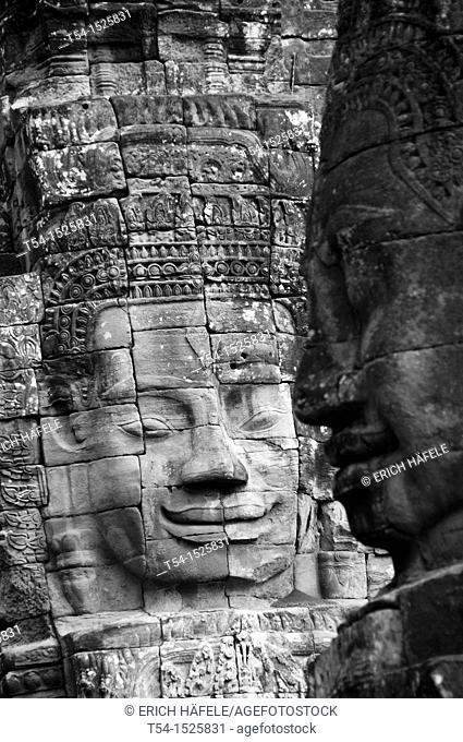 Face of the Lokeshvara at Bayon Temple in Angkor