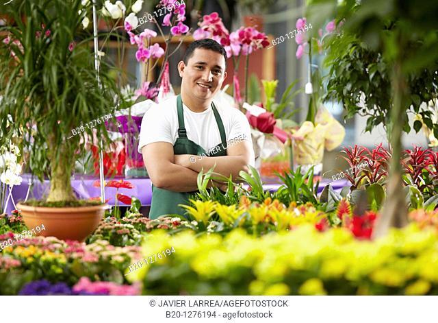 Inmigrante hondureño trabajando en España, jardinero, Garden center