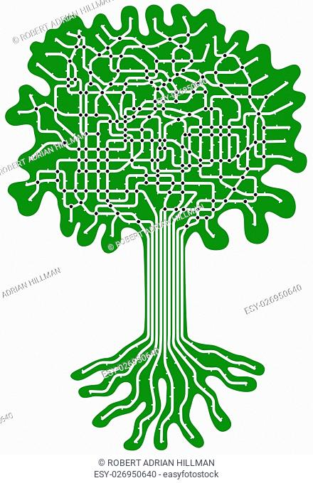 Editable vector subway map in shape of a tree