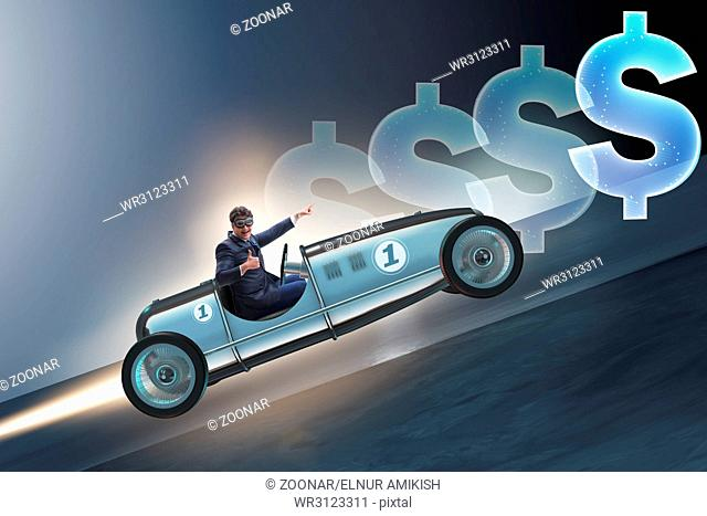 Businessman driving car in financial concept