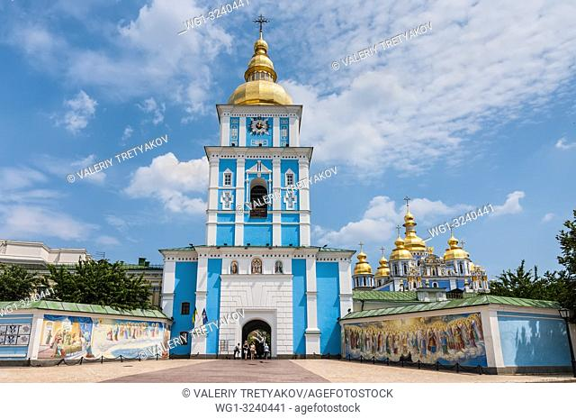 Kyiv, Ukraine - June 18, 2011: St. Michael's Golden-Domed Monastery with cathedral and bell tower seen in front of St. Michael's Square in Kyiv, Ukraine