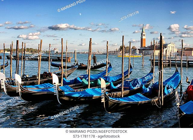 Gondolas on the Canale Grande, Grand Canal in Venice, Italy
