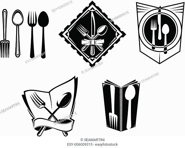 Restaurant menu icons and symbols set for food service design