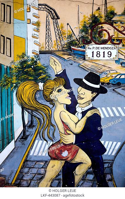 Mural of tango dancers on a wall in La Boca district, Buenos Aires, Buenos Aires, Argentina